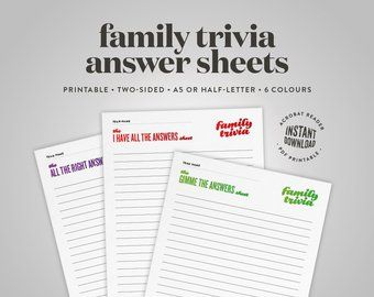Family Reunion Party Games Printable Trivia Question Card Etsy Bookmark Template Family Reunion Question Cards