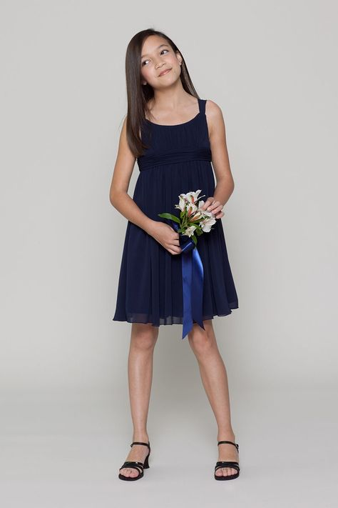 91af684534 Sleeveless Elegant Short Navy Blue Bridesmaid Dress for Junior ...