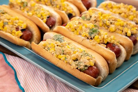 Class of the Day: Hot Dogs with Charred, Cheesy, Chili-Lime Corn Topping 🌽This creamy, zesty charred corn mixture is the perfect topping! Make it with Alexis deBoschnek's class on the #FoodNetworkKitchen app: LINK