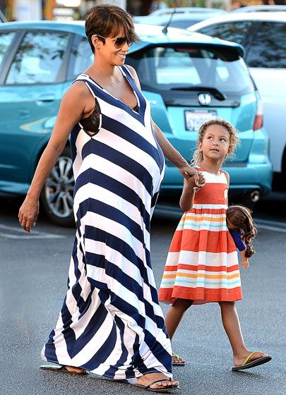 Halle Berry and daughter Nahla wore coordinating striped dresses as they enjoyed a day of shopping at the Grove on Sept.