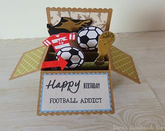 Handmade Football Soccer Addict Birthday Box Card Any Age Personalised Birthday Box Card Box Happy Birthday Football