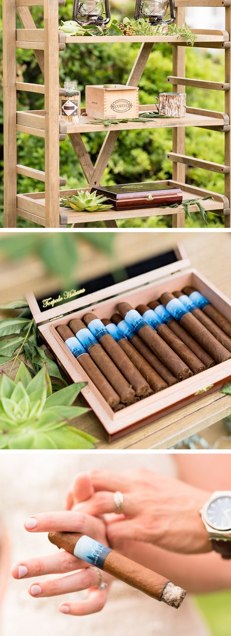 A complimentary cigar bar adds an air of sophistication to any event or wedding reception. Megan and Matt even had these cigars customized with their names and wedding date! You could also have customized matchbooks made to double as a wedding favor or provide a few cigar torch lighters for guests to light their cigars. Click for more inspiration from this boho wedding with a charming glamping theme.  #weddingideas #weddinginpsiration #weddingreceptionideas #weddingfavors #weddingfavorideas