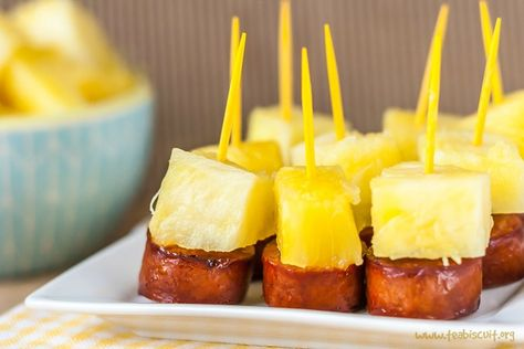 These fun little Sausage and Pineapple Party Bites are easy to make in a hurry and would make a great appetizer for your next party! | www.teabiscuit.org