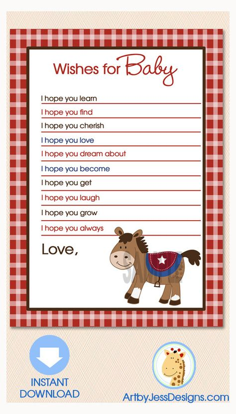 Round Em Up Western Horse Baby Shower Wishes for Baby Advice Card, Printable JPG Instant Download on Etsy, $5.00