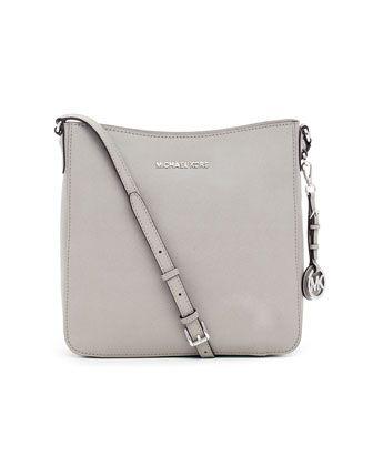 5d27bff7b68c6 MICHAEL Michael Kors Jet Set Large Travel Messenger Bag - Neiman Marcus  Pearl gray saffiano leather. Top zip. Buckled crossbody strap.