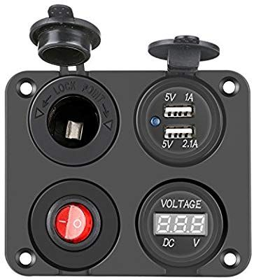 12V Auto KFZ Zigarettenanzünder Steckdose mit 2 USB Ladegerät und LED Voltmeter