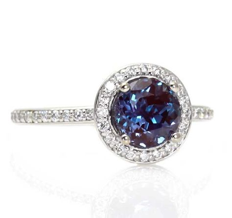 Platinum Alexandrite Ring Diamond Halo Setting Alexandrite Engagement Ring Custom Bridal Jewelry Rare Earth