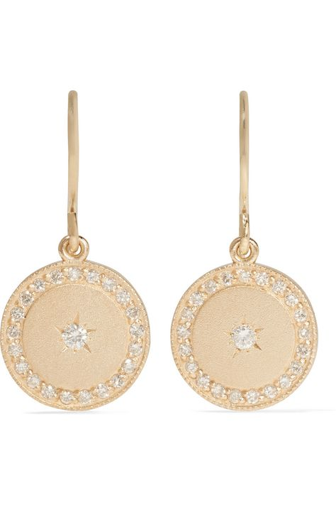 Andrea Fohrman Phases Of The Moon 18-karat Gold Diamond Earrings 3FVXoV