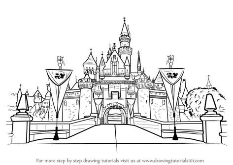 Learn How To Draw Disneyland Castle Castles Step By Step