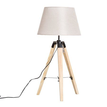 Homcom 27 Linen Fabric Shade Table Top Lamp With Wooden Tripod Stand Beige Tablelamps Lamp Table Top Lamps Fabric Shades