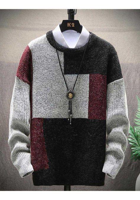 Black multi color stripe texture pull over sweater