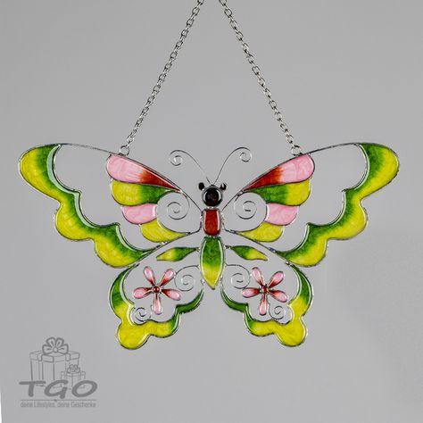 Formano Fensterdeko Hanger Schmetterling Tiffany Art Grun 30cm In