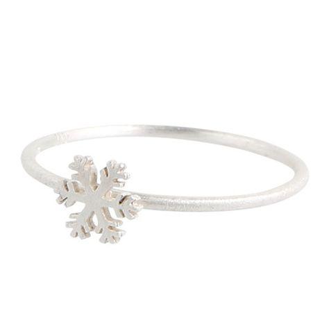 Fin lille sølvring med lille snefnug