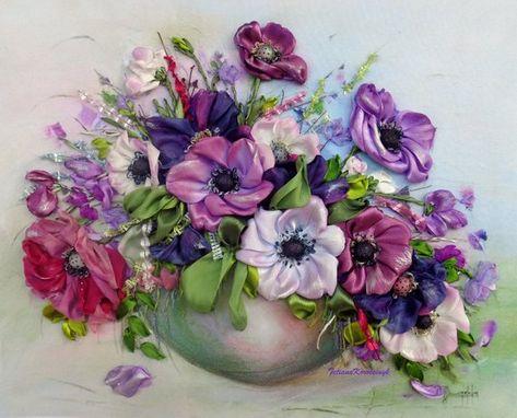 Fiori Con La F.Anemoni Quadro Ricamato Con Nastro Viola Silk Ribbon Embroidery
