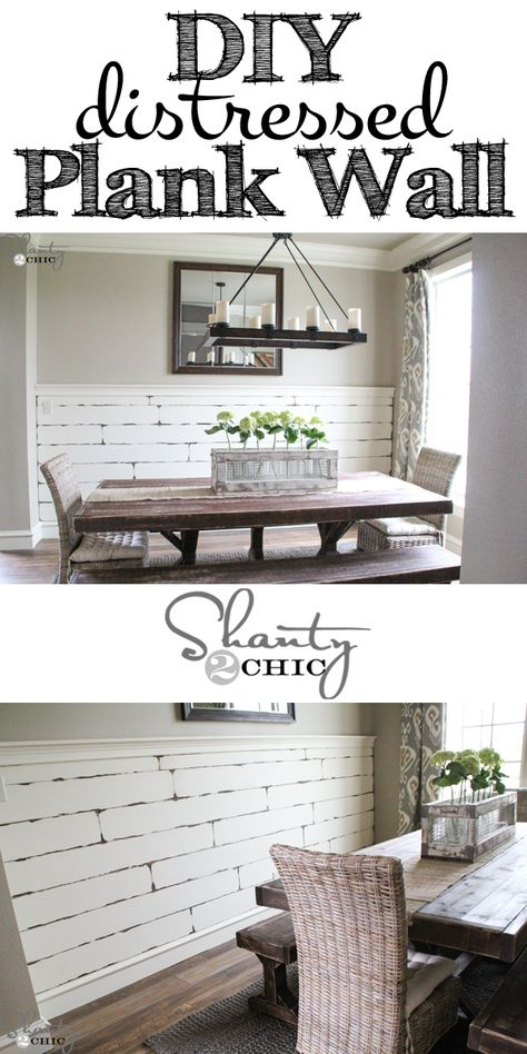 Very EASY DIY Distressed Plank Wall! Love this!!! {Shanty2Chic}