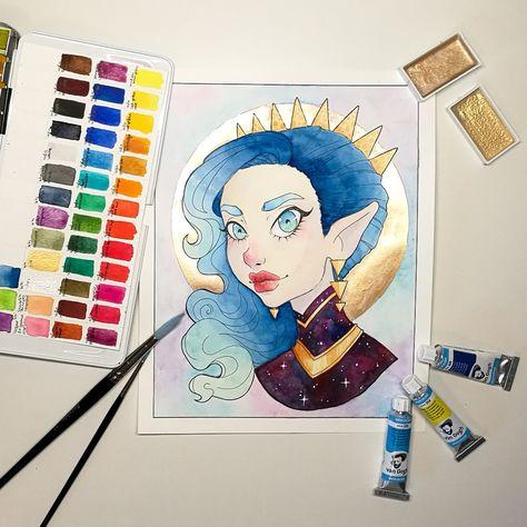 Aquarelle Watercolor Portrait Gold Scrawlrbox Vangogh Paint