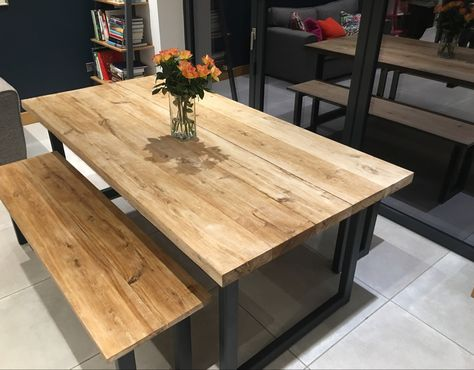 2 0mx0 95m Solid Oak Top Dining Table Sitting On Steel Legs To A