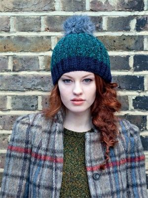 Fake Fur Bobble Hat from Milano by Debbie Bliss  at KnittingFever.com
