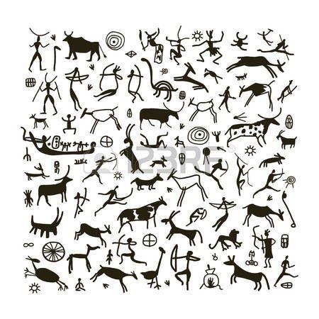 Cueva De Los Animales Pintura Roca Siluetas Establecer Pinturas Rupestres Rupestre Dibujos Rupestres