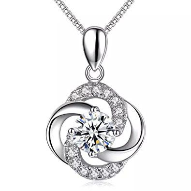 Four Clover Pendant 925 Sterling Silver Necklace Chain Womens Jewellery Gifts