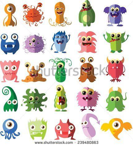 Cartoon cute monsters and bacterias in flat design - stock vector