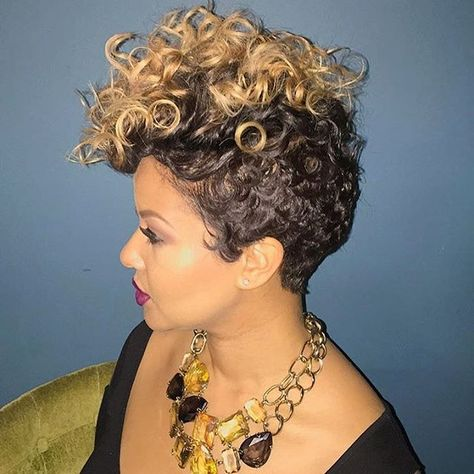 STYLIST FEATURE| Loving this #curly pixie styled by #dmvstylist @shay_mcalpin Sexy #voiceofhair ========================== Go to VoiceOfHair.com ========================= Find hairstyles and hair tips! =========================