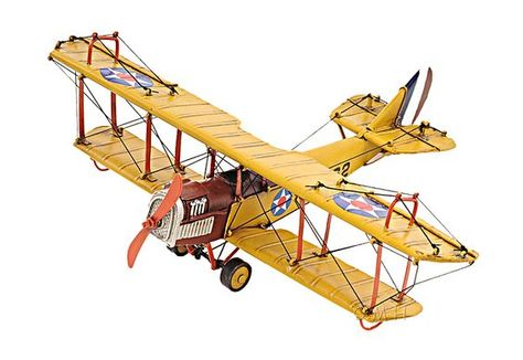 """Airplane WWI Flying Circus Curtiss Jenny JN4 Biplane 20/"""" Wood Model Aircraft"""