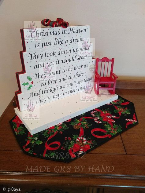 Christmas and Holidays in Heaven poem table top display handmade memorial decor