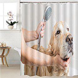 Golden Retriever Dog Shower Curtain Relaxing Bath Foam To A Golden