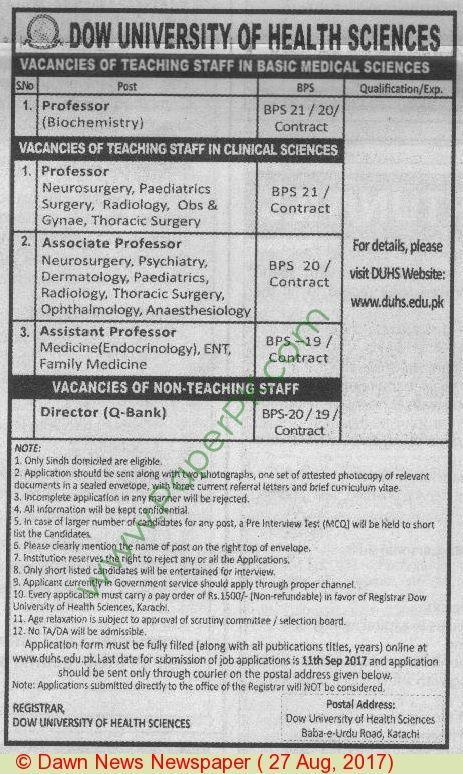Dow University Of Health Sciences Karachi Jobs 1 Jobs In Pakistan
