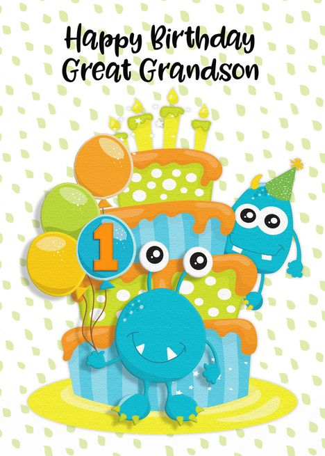 Happy 1st Birthday To Great Grandson Birthday Cake And Monsters Card Ad Ad Birthday Great Happy 4th Birthday Happy Birthday Nephew Happy 2nd Birthday