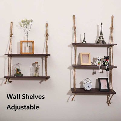 Rustic Solid Wood Rope Hanging Wall Shelf Country Vintage Storage Floating Shelf