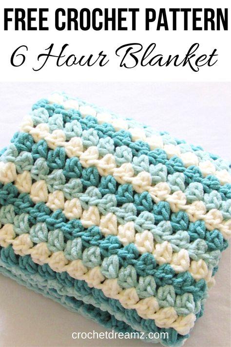 6 Hour Chunky Crochet Blanket 6 Hour Chunky Crochet Blanket <br> Try this mock crochet granny stripe blanket with Bernat Blanket yarn. It will make a perfect gift for a baby boy or girl. Crochet Afghans, Crochet Granny, Baby Blanket Crochet, Crochet Yarn, Kids Crochet, Granny Granny, Crochet Cushions, Crochet Blocks, Booties Crochet
