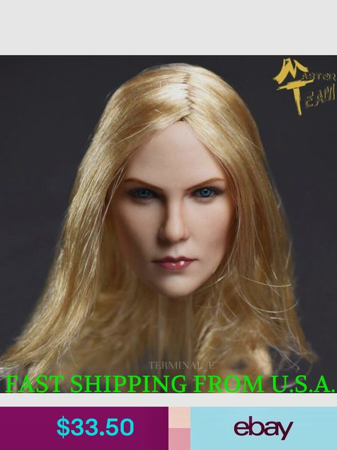 """1//6 Female Head Sculpt C Brown Hair For 12/"""" PHICEN Hot Toys VERYCOOL Figure USA"""
