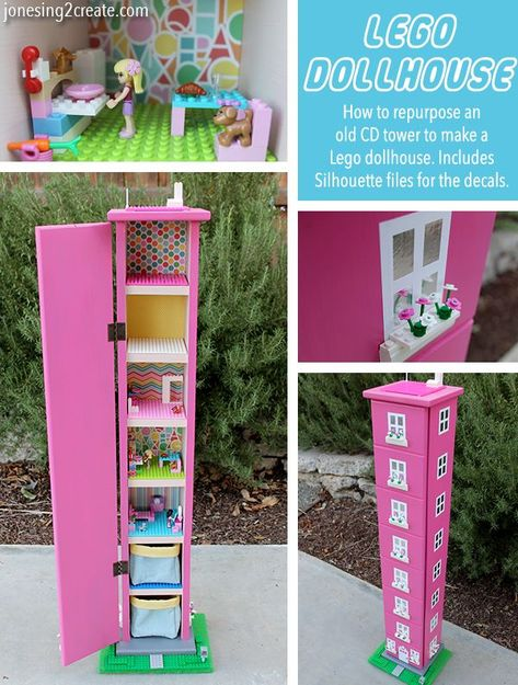 I am in love with this Lego dollhouse for girls! Great way to repurpose those old CD towers nobody uses anymore. I am in love with this Lego dollhouse for girls! Great way to repurpose those old CD towers nobody uses anymore.My Ladybug is crazy in love wi Table Lego, Lego Craft, Lego Storage, Lego Friends Storage, Barbie Storage, Doll Storage, Craft Storage, Storage Ideas, Diy Bebe