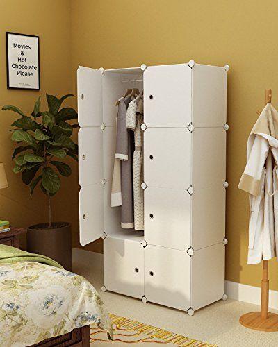 Kousi Portable Wardrobe Closet For Bedroom Clothes Armoire Dresser Cube Storage Organizer 5 Cubes 1 Armoire Storage Wardrobe Storage Cabinet Wardrobe Storage