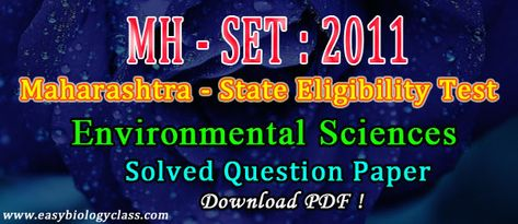 Environmental Sciences SET MH Solved Question Paper