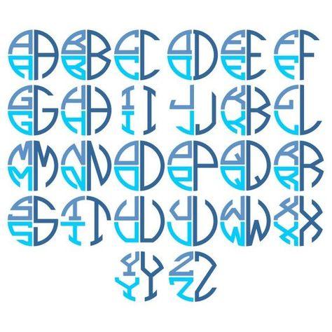 Round Stacked Monogram TrueType Font Keyboard Typeable OTF TTF Install Files