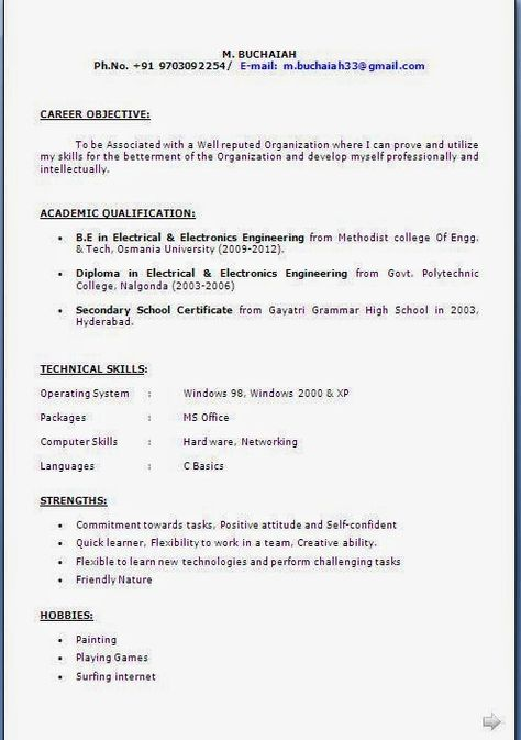 ca resume format Sample Template Example of Excellent Curriculum - e resume format