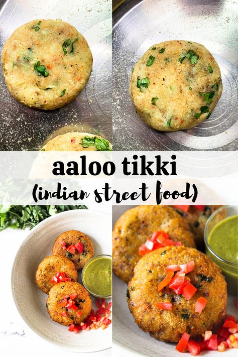 Aaloo Tikki (Indian street food) - - Aaloo Tikki or Indian street food style potato cutlet/ croquettes/ patties cooked made with basic Indian spices - soft from the inside, crunchy from the outside and so delicious. Veggie Recipes, Indian Food Recipes, Asian Recipes, Cooking Recipes, Healthy Recipes, Indian Vegetarian Recipes, Snacks Recipes, Vegetarian Food, Keto Snacks