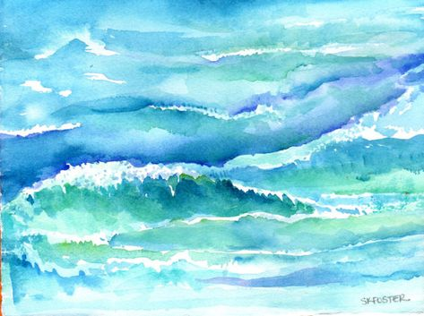 Original Ocean waves watercolor 5 x 7 inches by SharonFosterArt, $16.00
