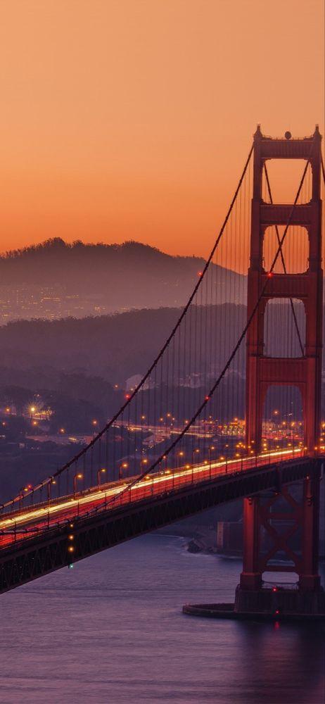 Iphonex Wallpaper Ne10 Bridge Orange Sunset River City Lights