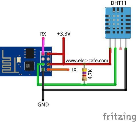 Esp8266 Temperature Humidity Webserver With A Dht11 Sensor Elec Cafe Arduino Arduino Wifi Arduino Projects
