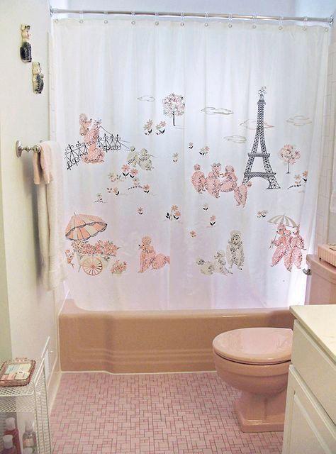 1950 S Paris Poodle Shower Curtain Homedecorretro Bathroom Retro Bathrooms Paris Bathroom