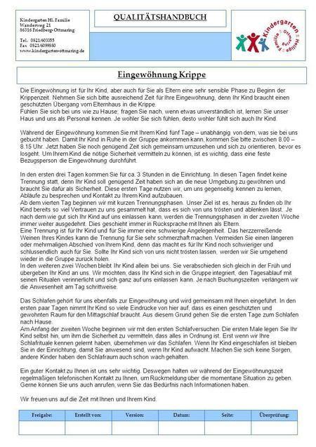 Eingewohnung Krippe Qualitatshandbuch Eingewohnung Kita Kinder Schutzen Kindergarten Geschenke
