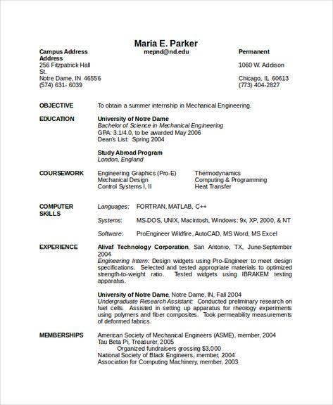 Engineering Resume Template template Engineering resume