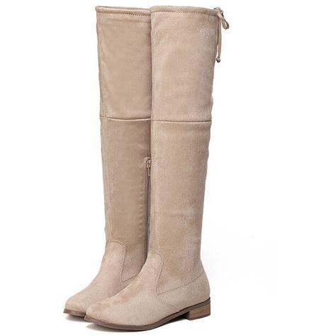 f79212efbc SheIn(sheinside) Apricot Chunky Heel Zipper Boots (16 BHD) ❤ liked on
