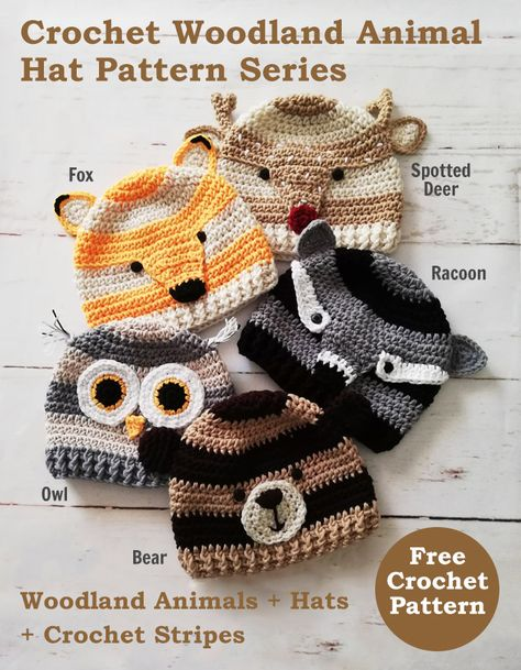 Crochet Woodland Animal Hat Pattern Series. These hats have a modern look with stripes and available in toddler size. #crochet #crochetforyoublog #woodland #freecrochetpattern #crochetstripes