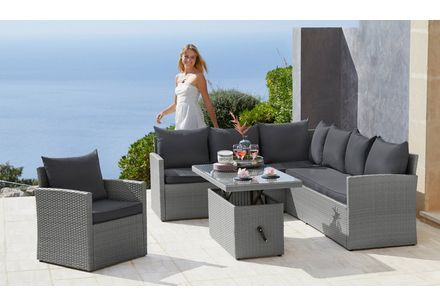 Merxx Gartenmobelset Mallorca 17 Tlg 2x 3er Sofa Bank Hocker Tisch 150x85 Polyrattan Online In 2020 Outdoor Sectional Sofa Outdoor Furniture Outdoor Sectional