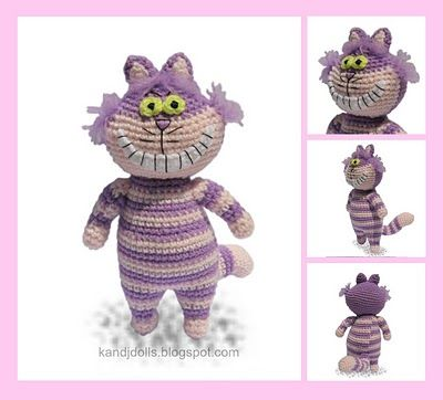 Cheshire Cat of Alice in Wonderland ~ Amigurumi crochet patterns ~ K and J Dolls